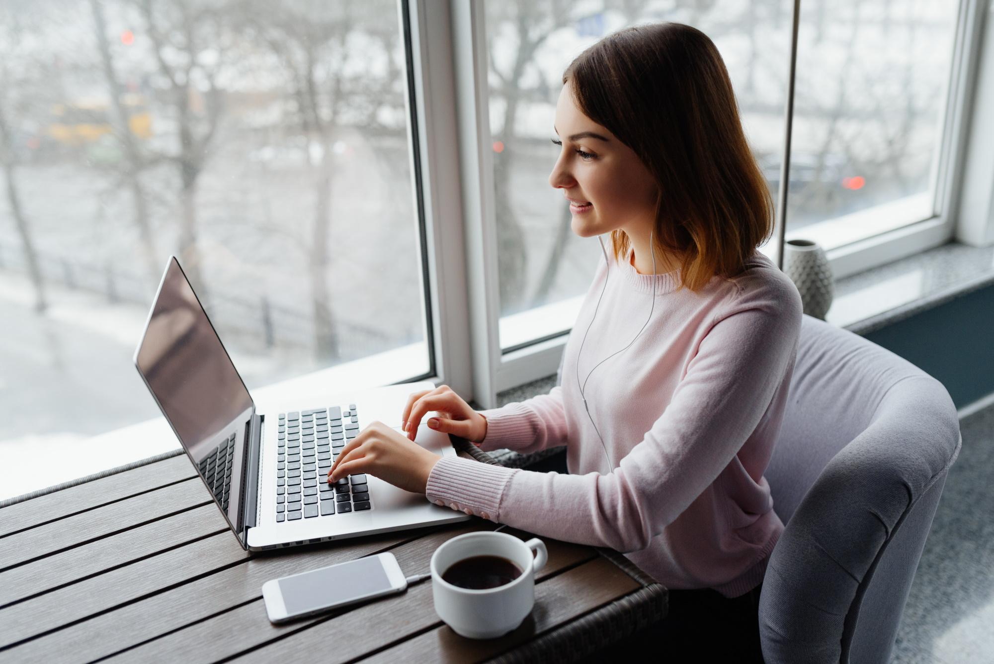 Female webinar attendee